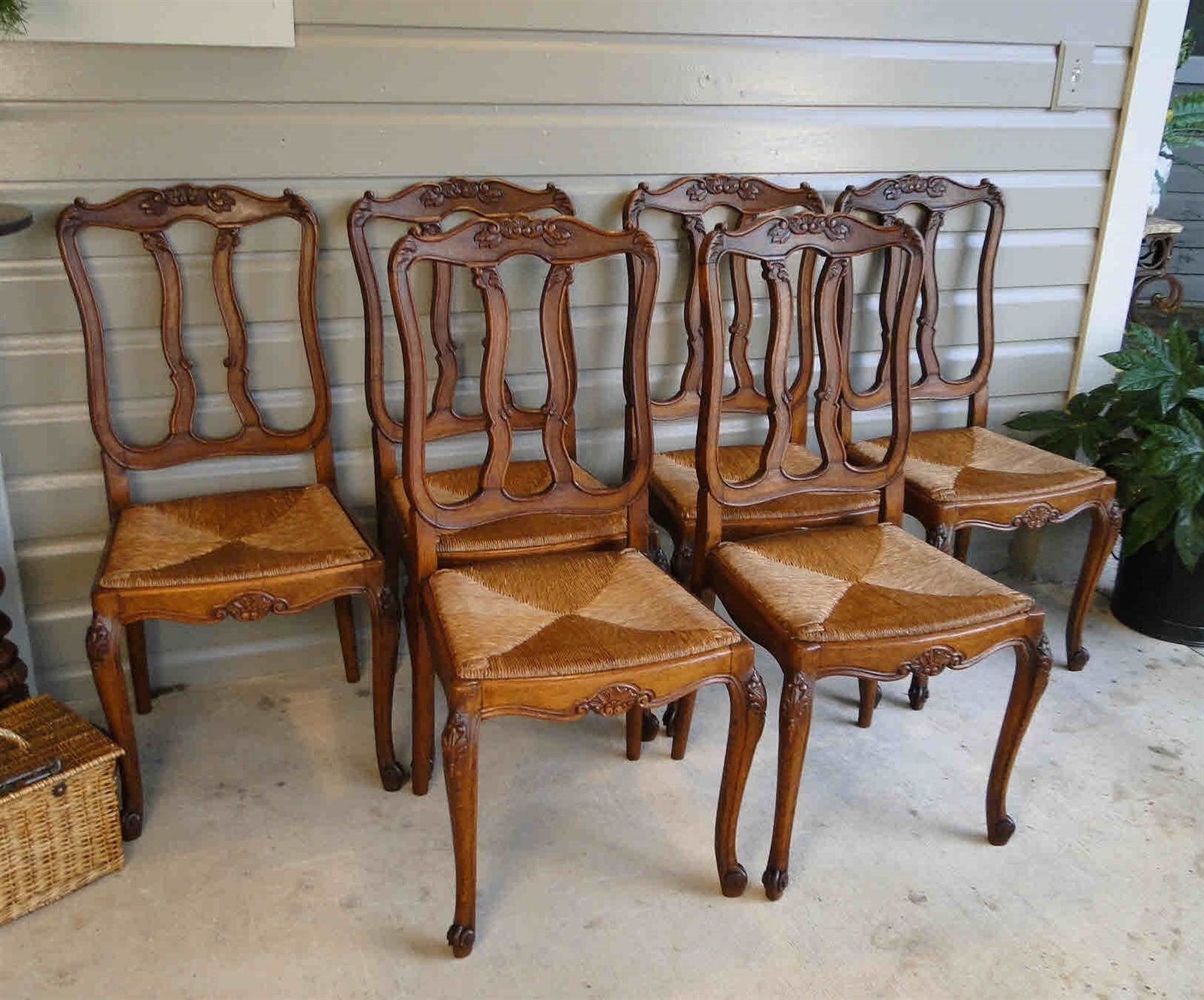 French Antique Dining Chairs with Rush Seats, Shell Carvings and Tall Backs and Cabriole Legs