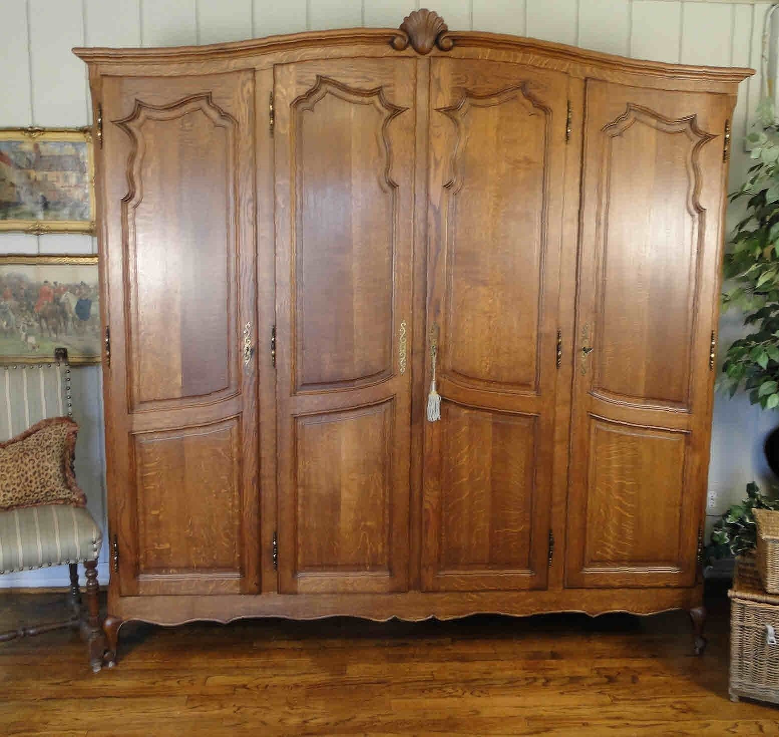 Antique French Country Wardrobe Armoire Three Door Shelves Hanging Rod