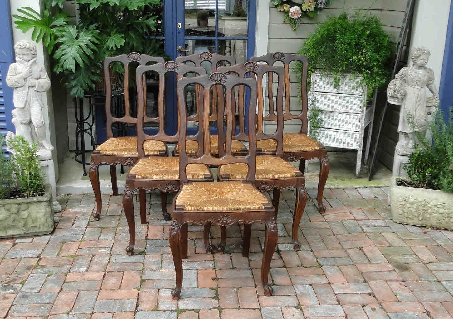 Antique French Dining Chairs Rush Seats Shells Tall Carved Back Stretchers