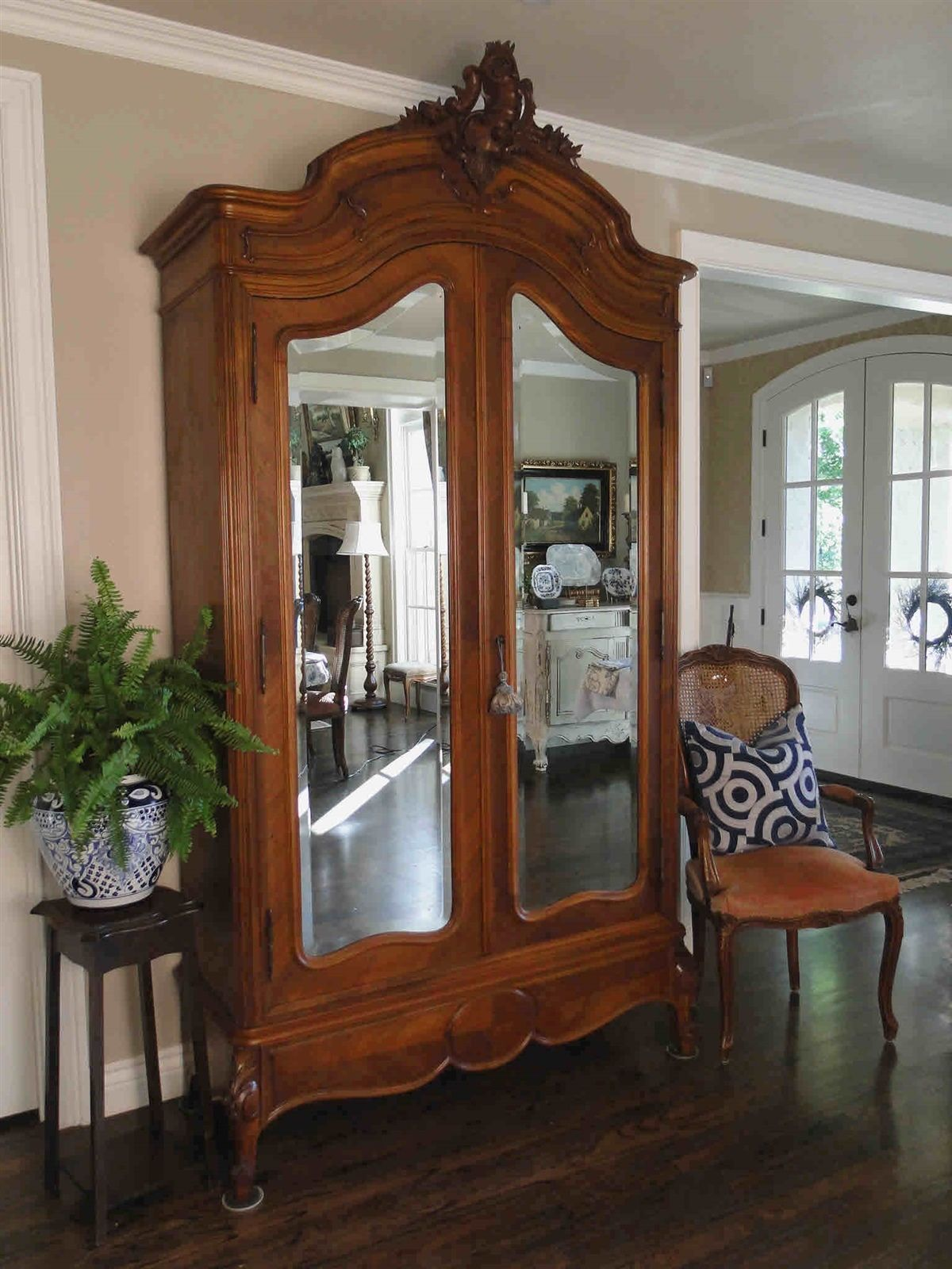 Antique French Louis IV Armoire Wardrobe Walnut Beveled Mirrored Doors w/key old