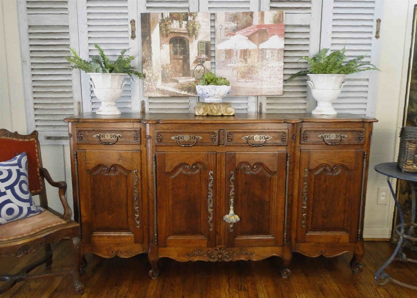 Antique French Country Buffet Sideboard Server Carved Oak Cabriole Legs Shells