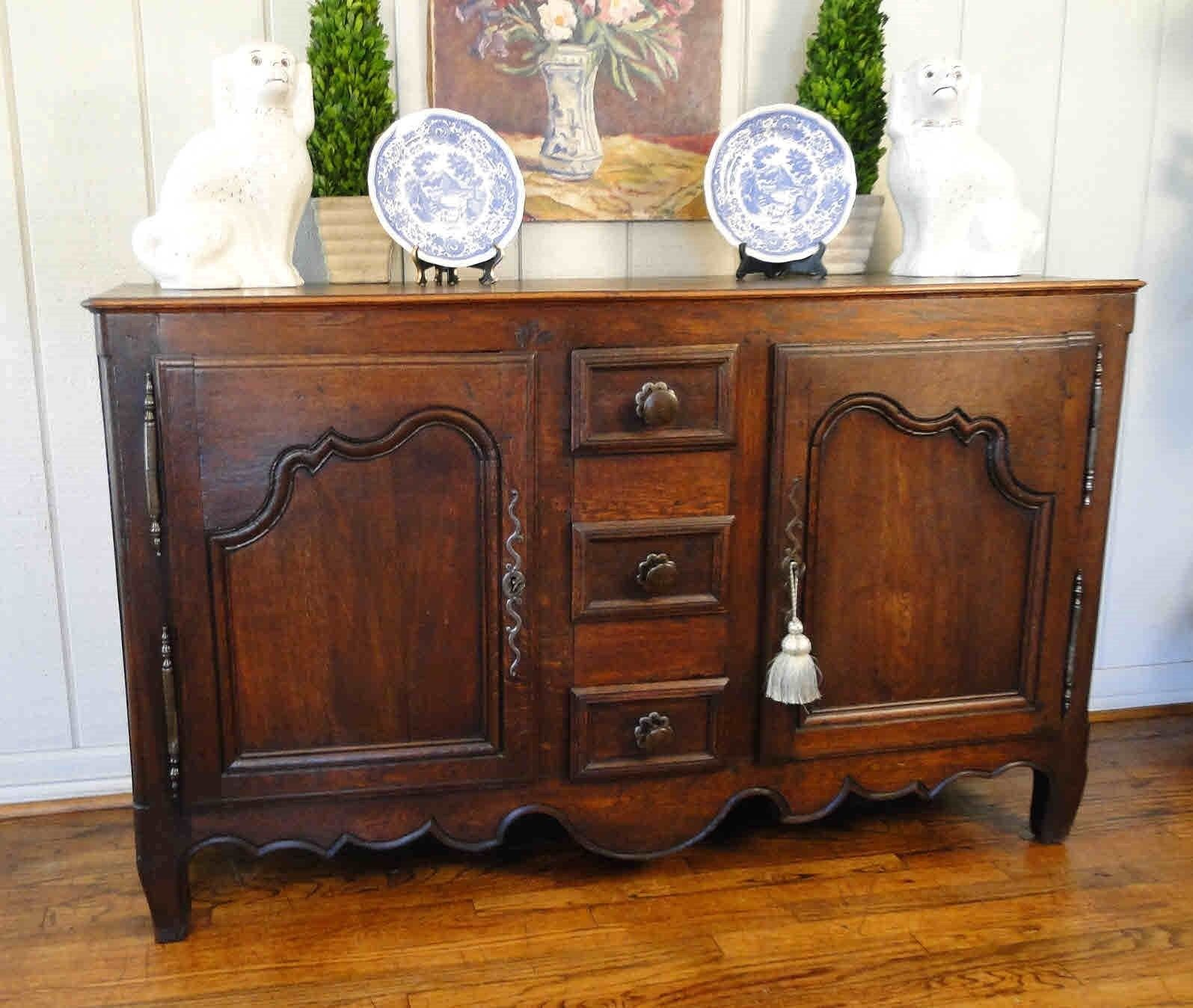 Country French Buffet Sideboard Server Provence c1890's Oak Original Hardware
