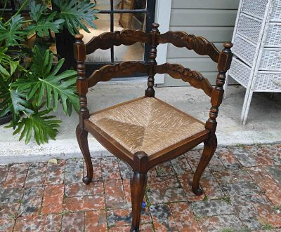 Antique French Corner Chair with Rush Seat and Turned Legs Carved of Dark Scalloped Oak