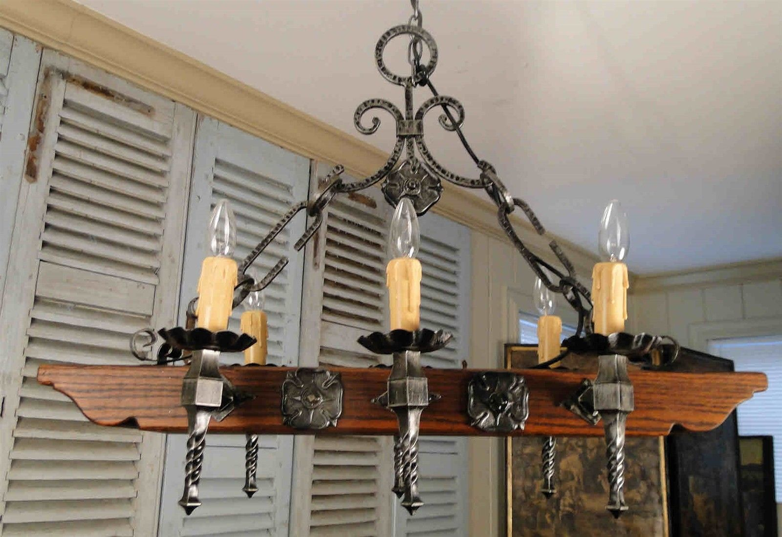 Vintage French Rustic Castle Chandelier Hanging Lamp 6 candle lights wood & iron
