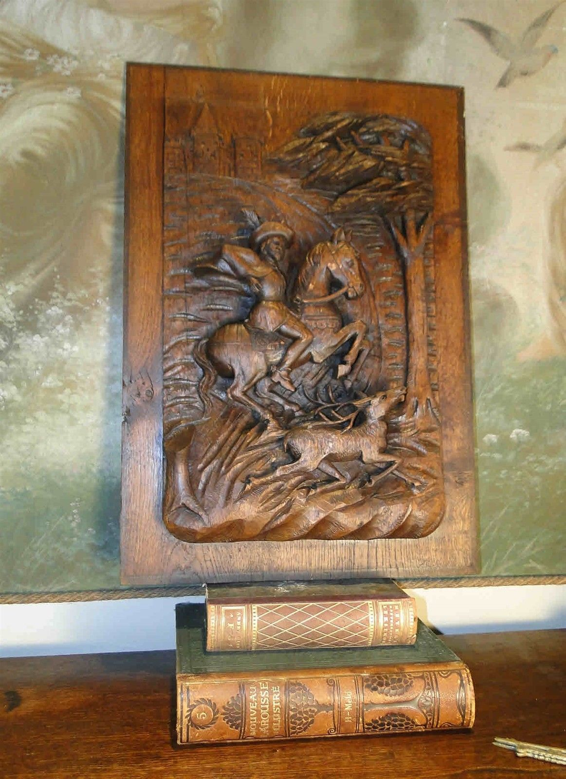 Hand Carved Wood Panel Antique French Mahogany Salvaged Carving Horse Dog Rider