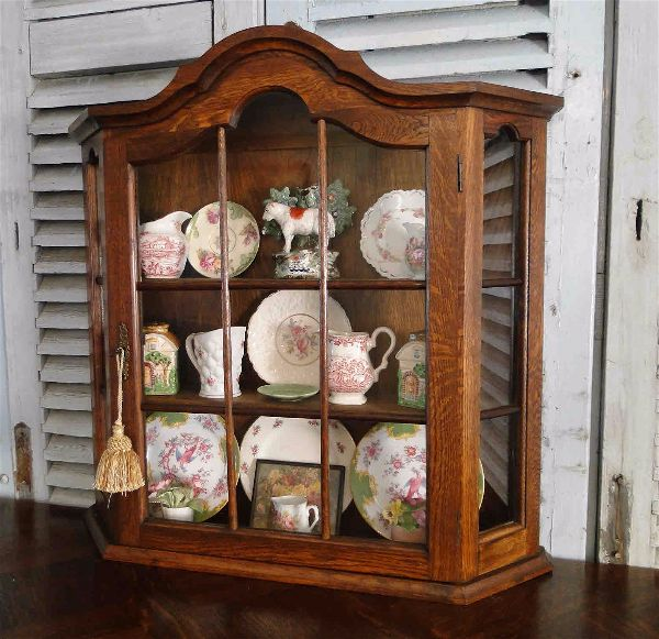 French Antique Oak Wall Shelf and Curio with Dome Top and Glass Pane Doors