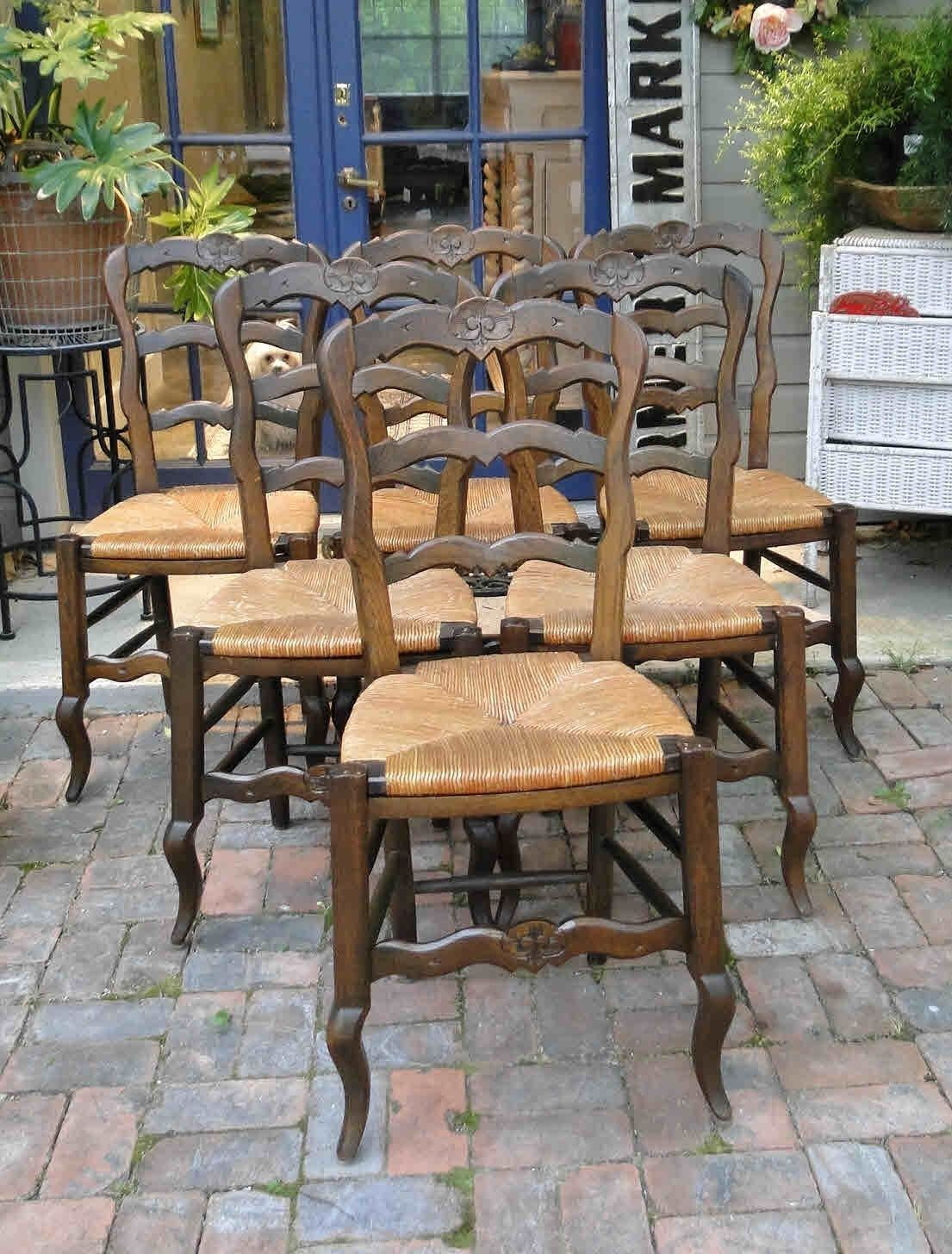 Antique French Dining Chairs with Rush Seats and Shell Carving and Quality Stretchers