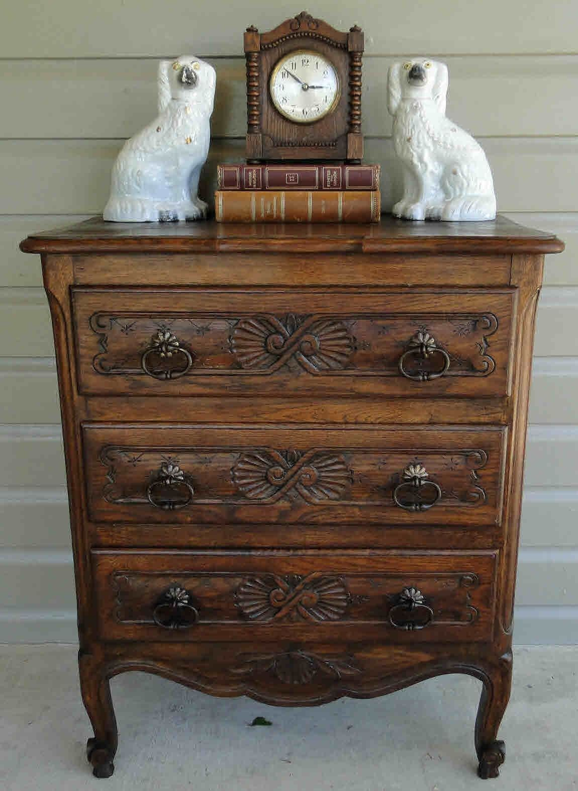 Antique French Country Chest of Drawers, Bureau with Scalloped Apron and Old Charm