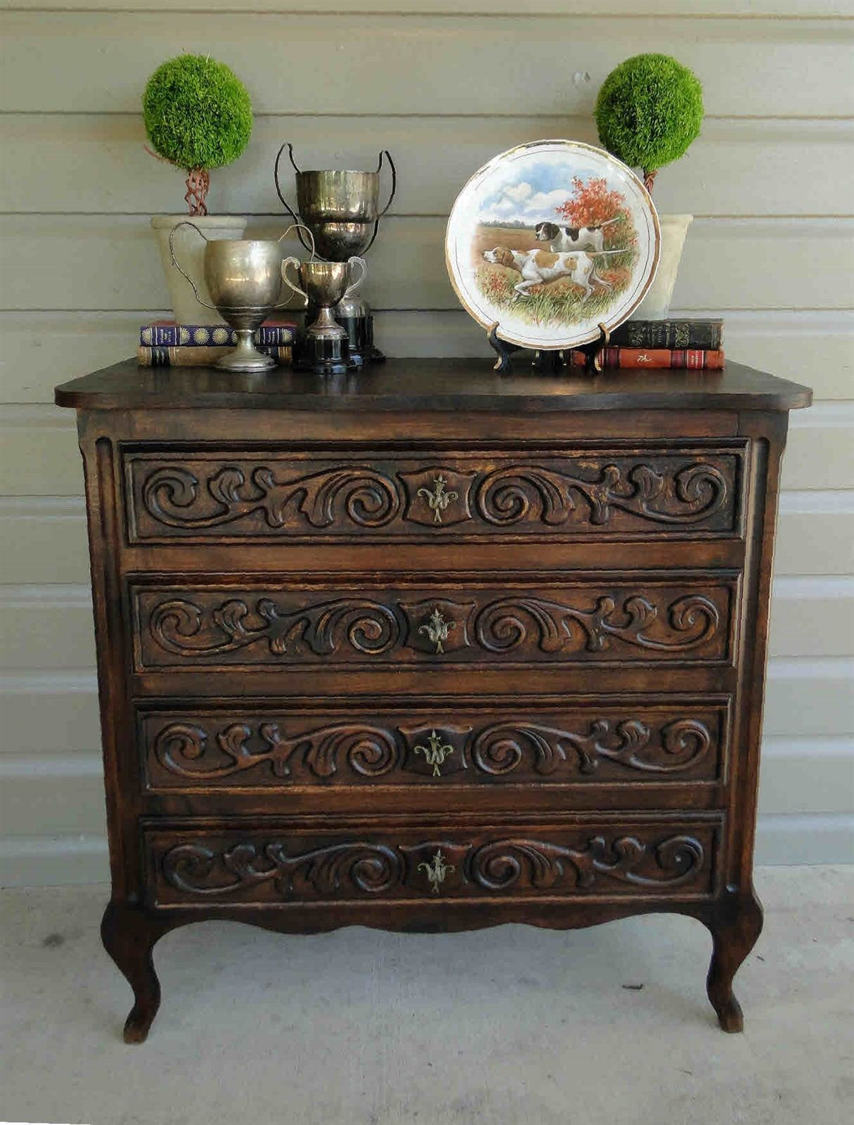 Dark Oak French Antique Louis XV Carved Chest of Drawers and Nightstand