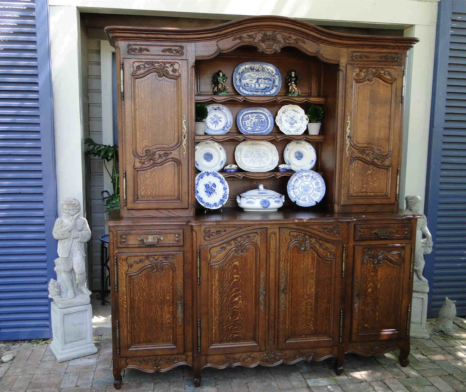 French Antique Hutch and Buffet Server with Carved Oak and Scalloped Apron Plus Shelves