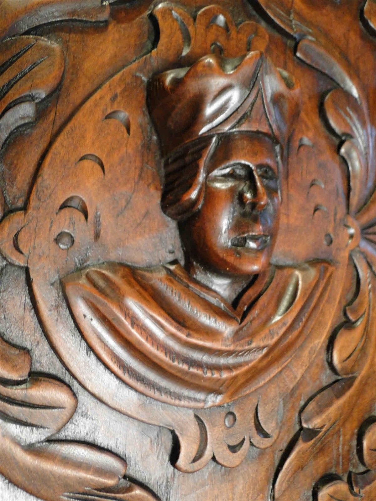 Hand Carved Wood Panel Antique French Walnut Figural Salvaged Black Forest