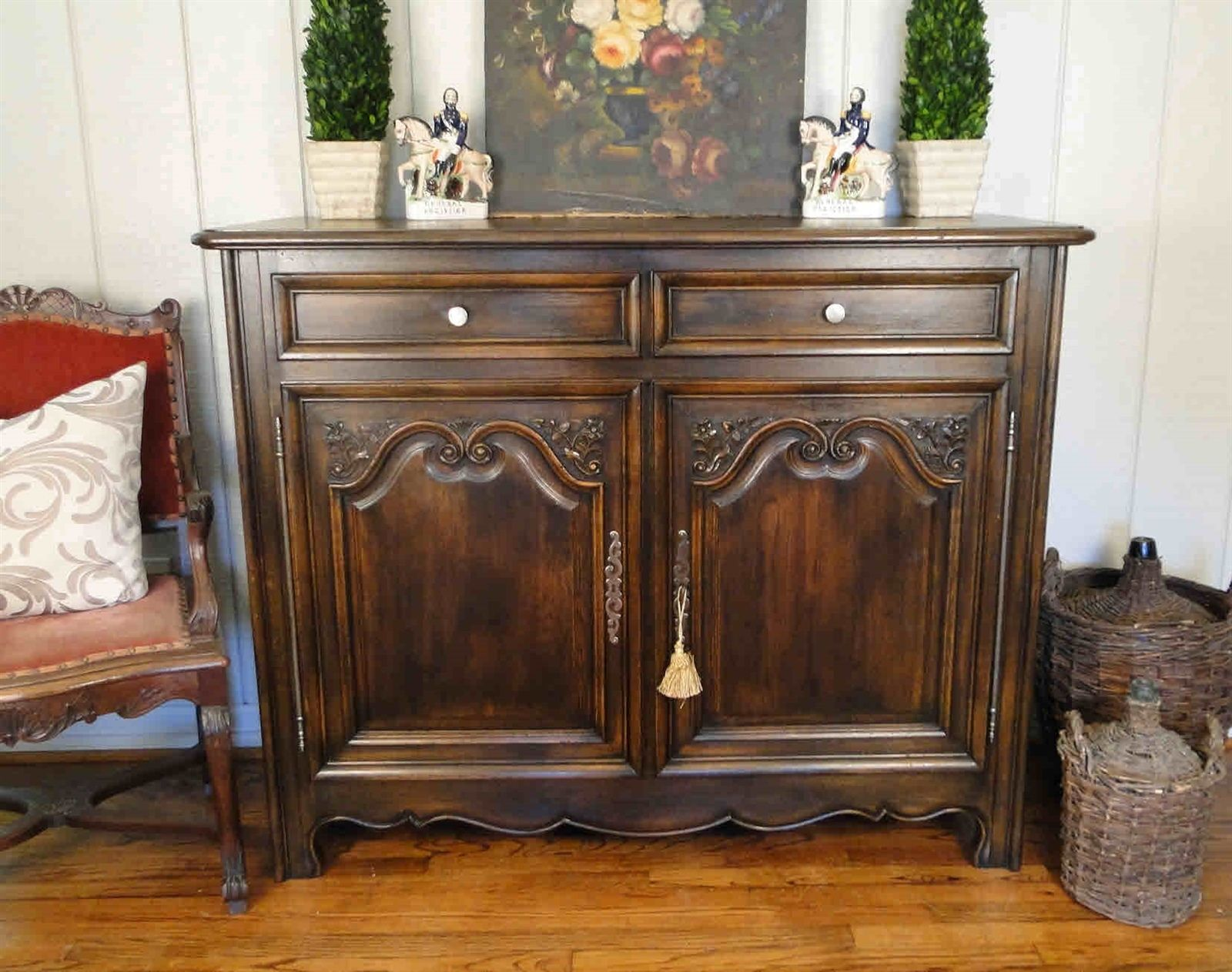 Antique French Country Buffet and Sideboard Server, Beautifully Carved of Dark Old Oak