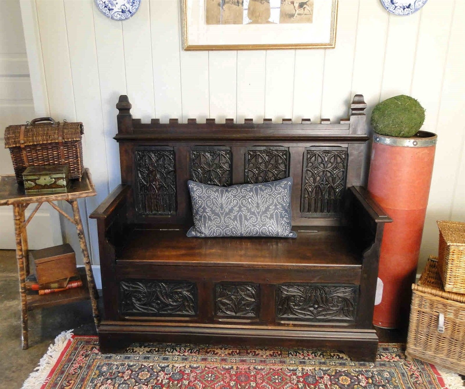 Antique French Carved Hall Bench Pew Entry Seat Storage Gothic Dk Oak Banquette