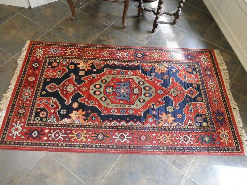 Vintage Rug Area Carpet Hand Knotted Persian Geometric From French Markets