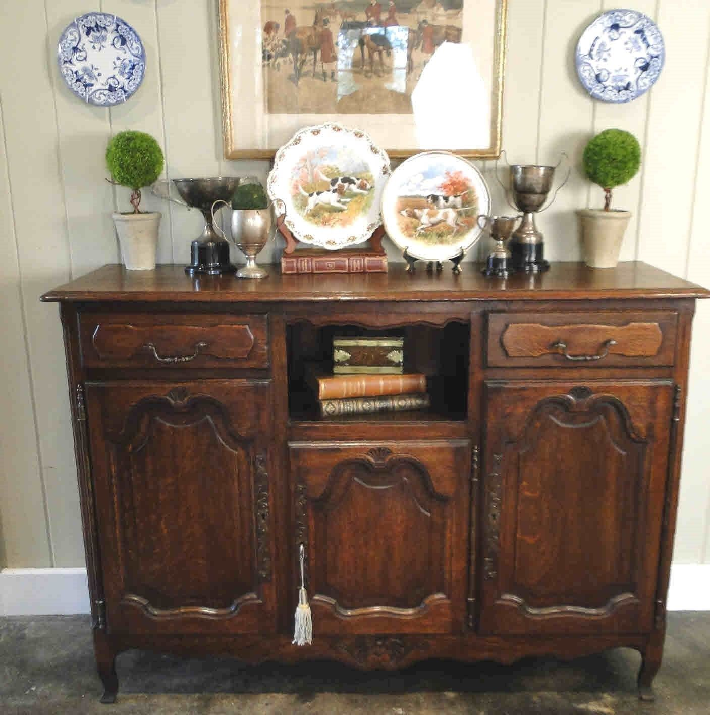 Antique French Country Buffet Sideboard Server 3 Door Carved Oak Shell Key