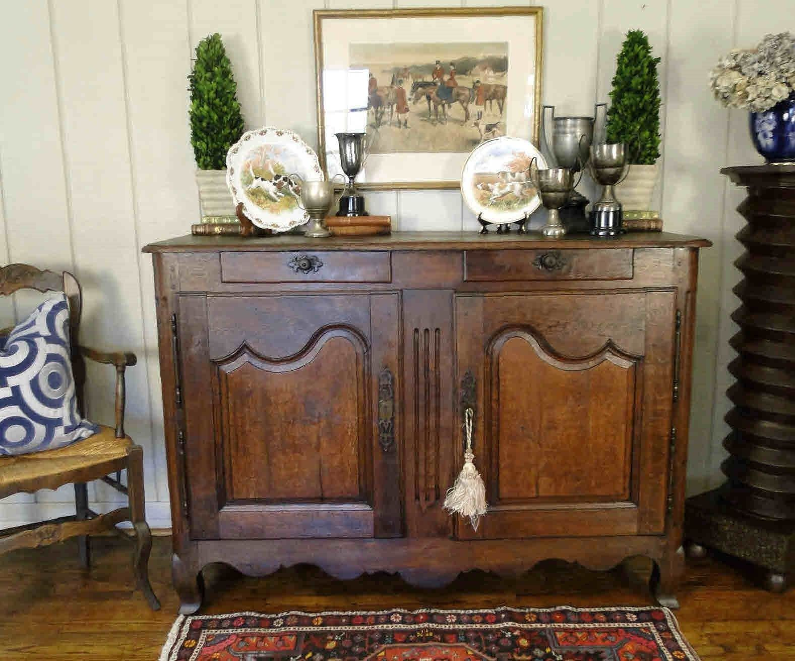 Antique French Country Buffet Sideboard Server Provence France Dark Wood 1800's