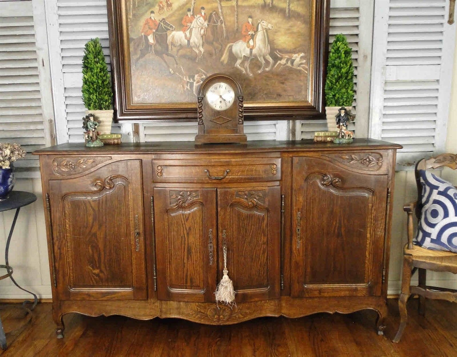 Antique French Country Buffet Sideboard Server 4 Door Carved Oak Shell Provience