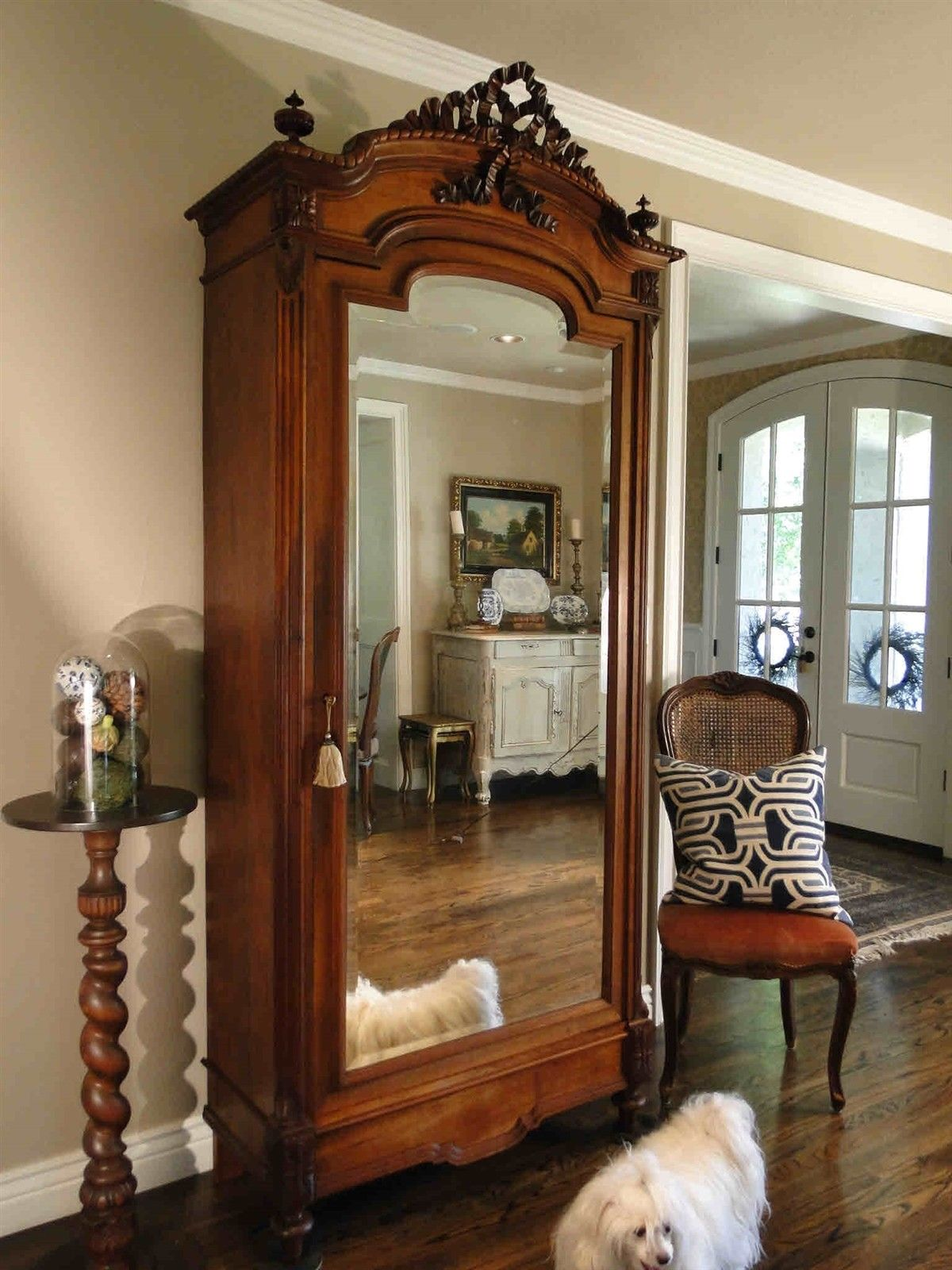Antique French Armoire Wardrobe Bow Carving Mirrored Door w/key Fitted Inside