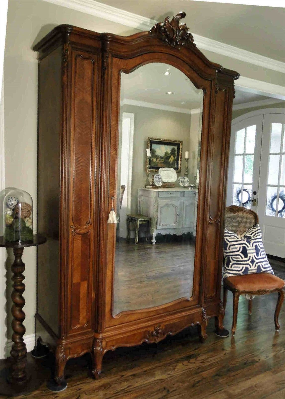 Antique French Armoire Wardrobe Large Beveled Mirror Walnut Carving c1920's key