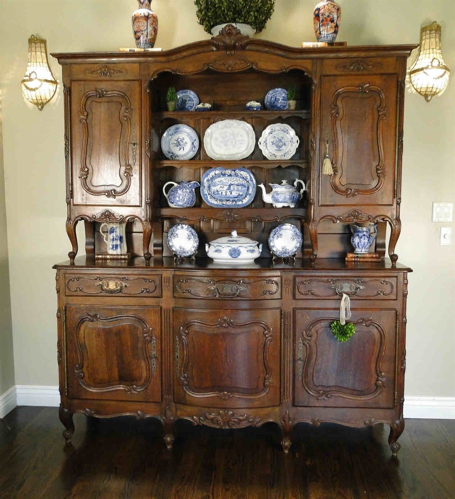 Antique French Cabinet Bookcase Hutch Buffet Carved Shell Dark Oak
