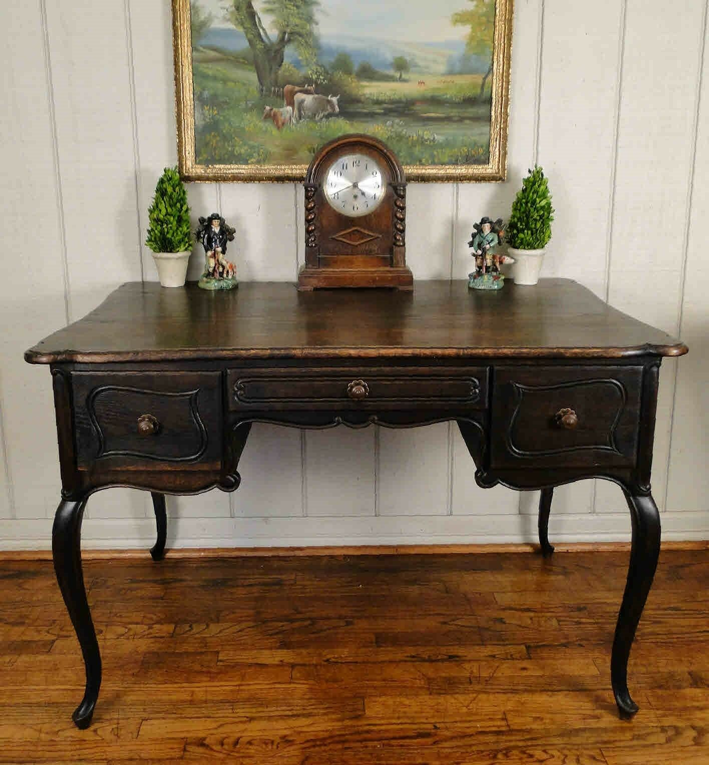 Antique French Carved Oak Barley Twist DESK SECRETARY Partners Table Library