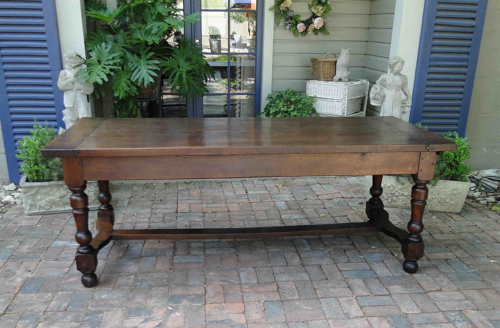Antique French Country Farm Dining Table  Authentic Provence Drawer Patina Old