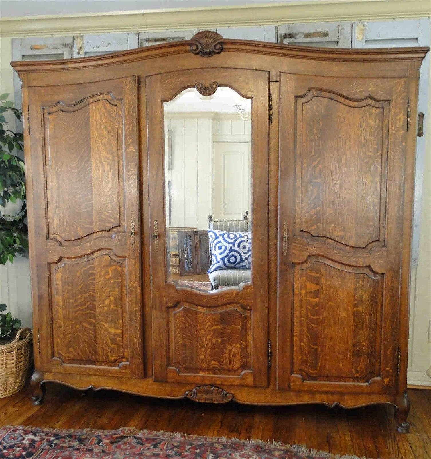 Antique French Country Wardrobe Armoire 3 door shelves hanging rod Mirror Carved