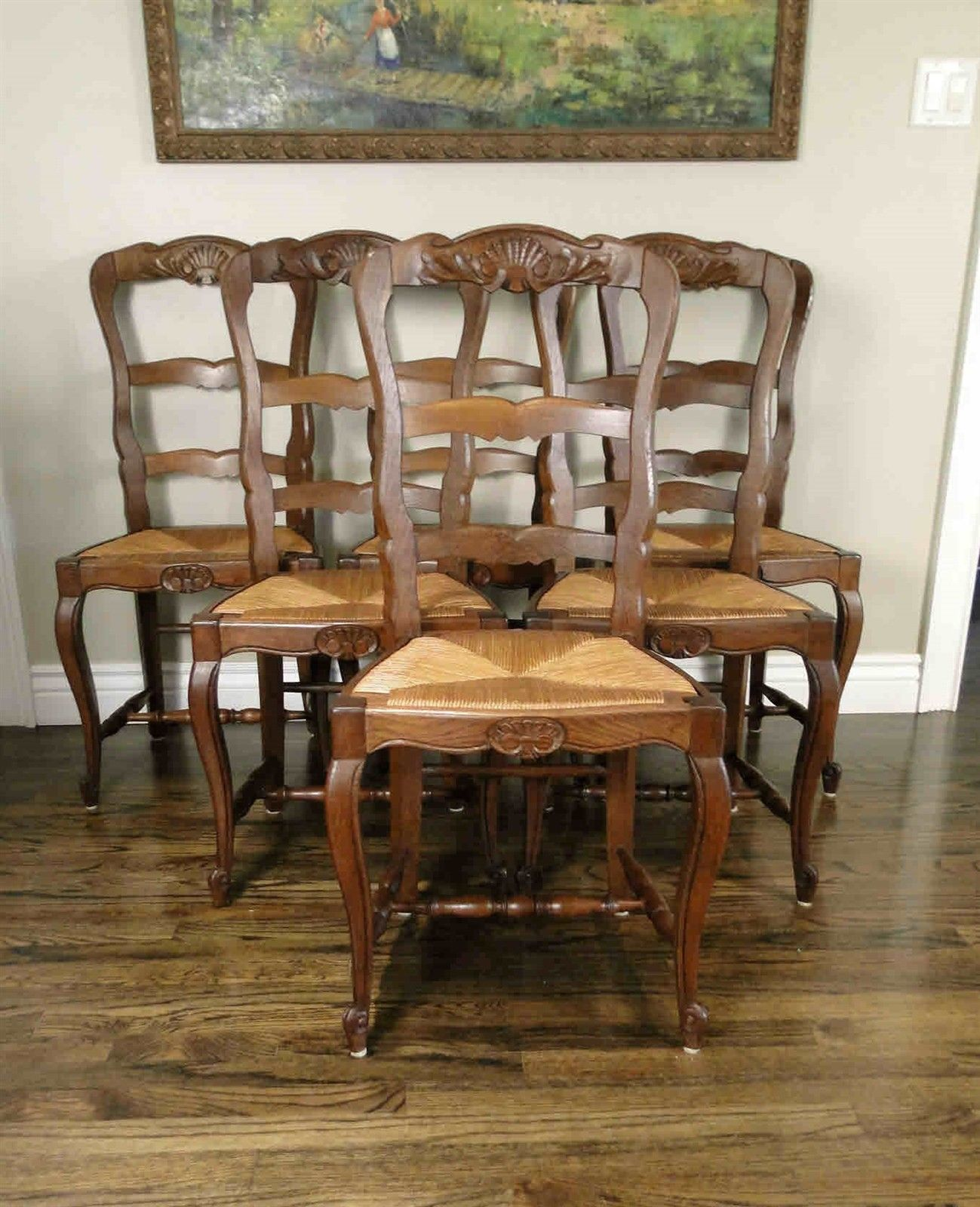 Antique French Dining Chairs Rush Seats Shells Tall Ladder Back Stretchers Set of 6