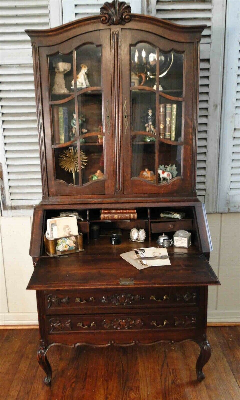 Antique Country French Secretary Desk Bookshelf Display Cubbies Dark Oak Classic