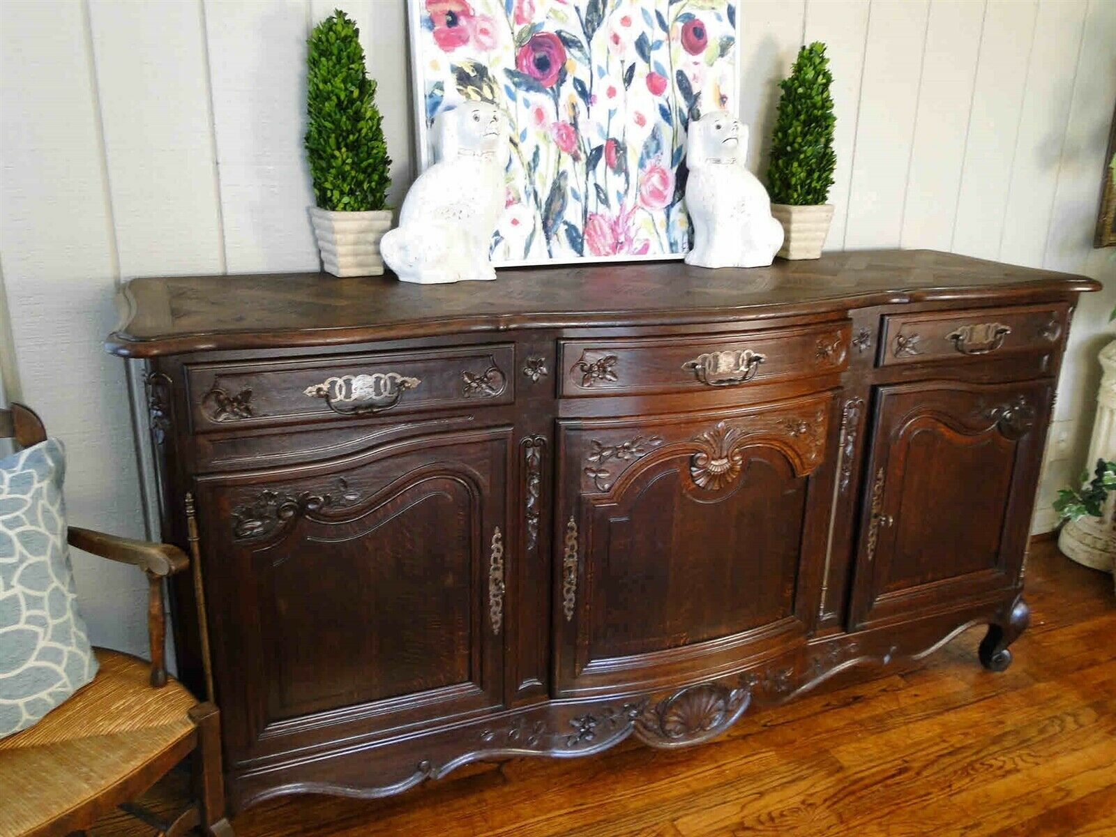 Antique French Country Louis XV Buffet Server Sideboard 3 Door Carved Oak Shell
