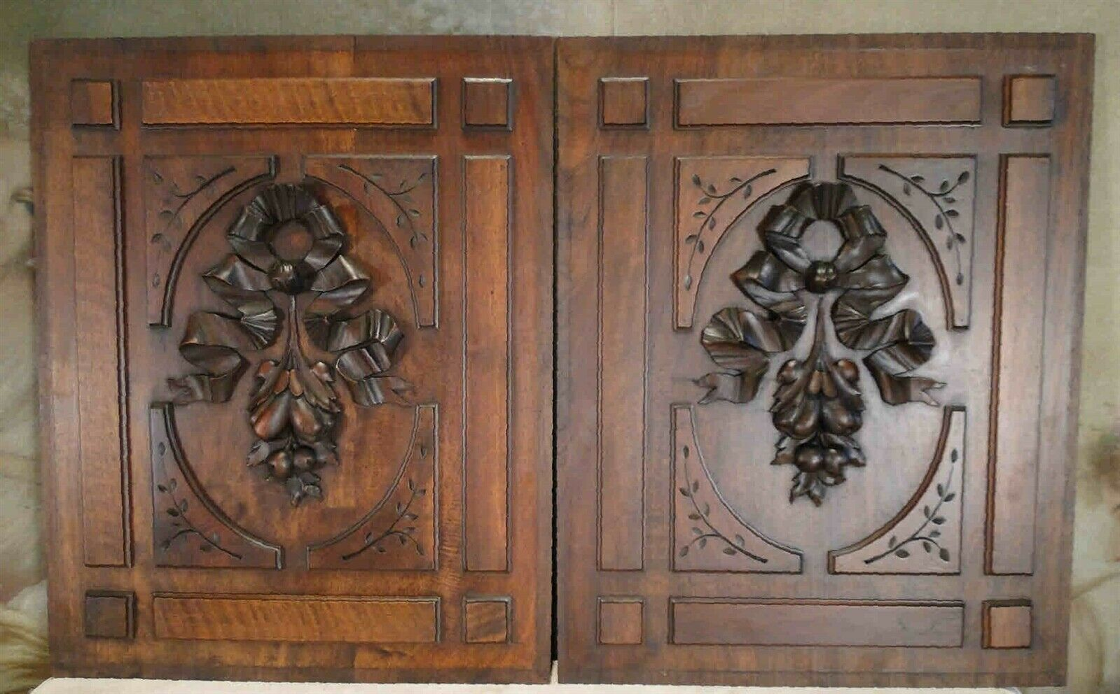 HAND CARVED Mahogany WOOD PANEL ANTIQUE FRENCH SALVAGED CARVING