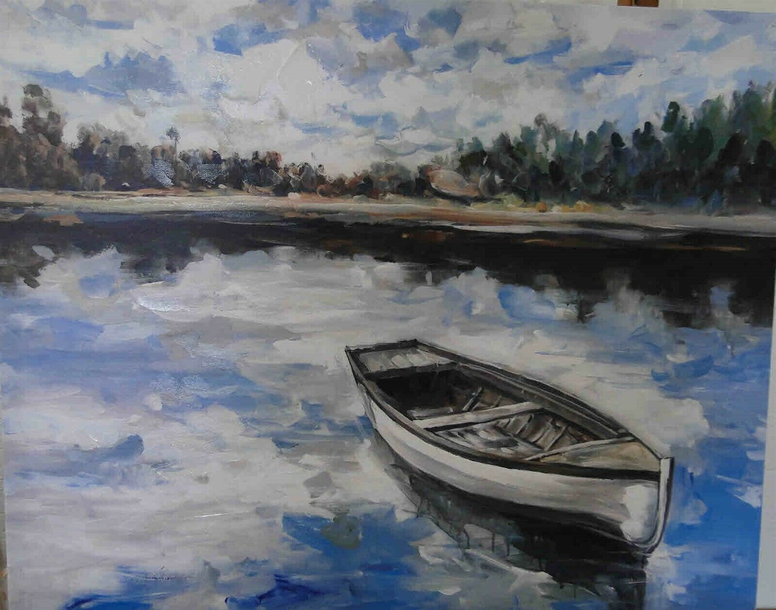Lovely Wrapped Boat Painting Blues White for Cabin Lake River Man Cave 24X30