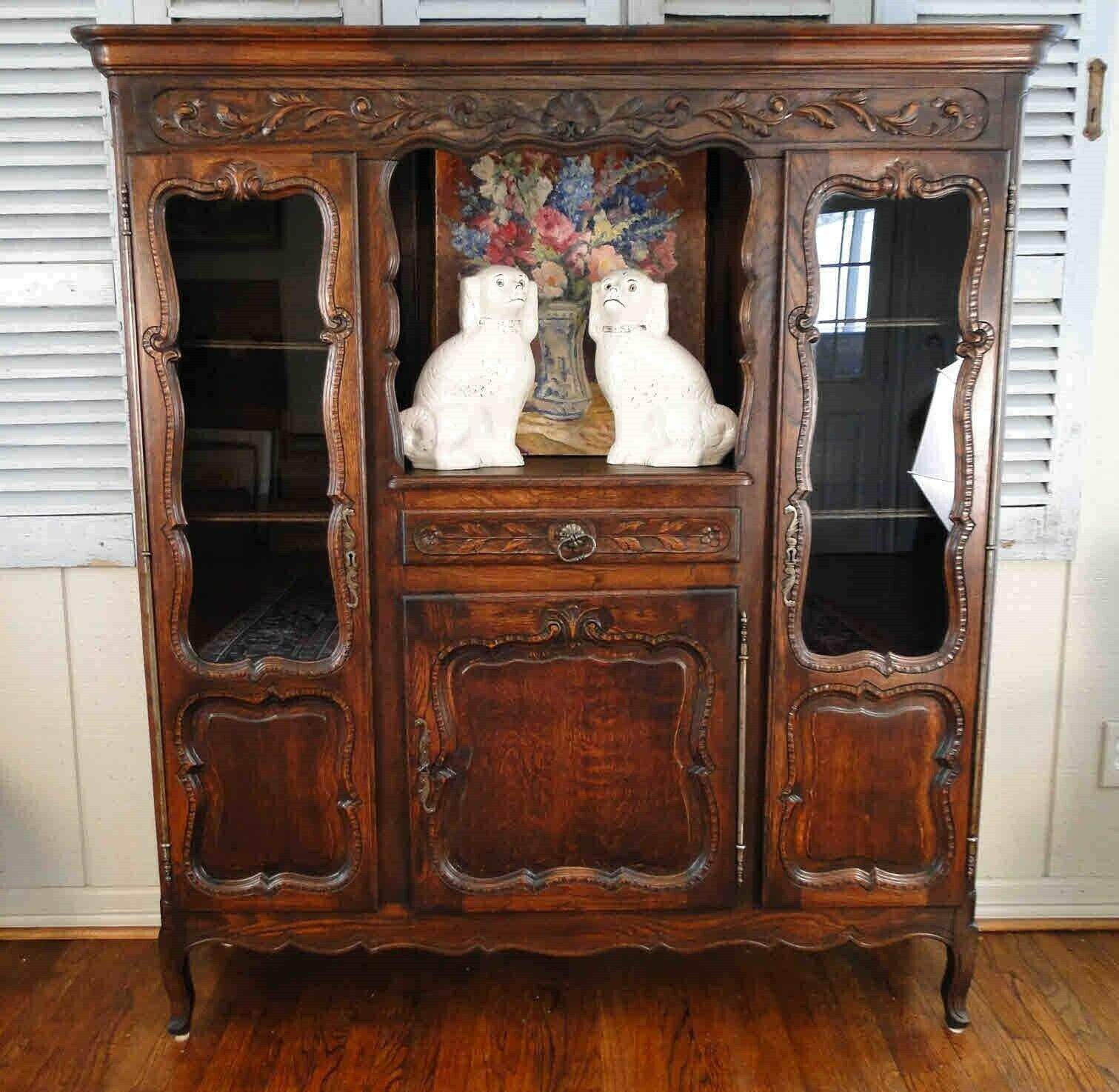 Stunning Antique French Hutch Bookcase Shell Carving Oak Shelf Scalloped