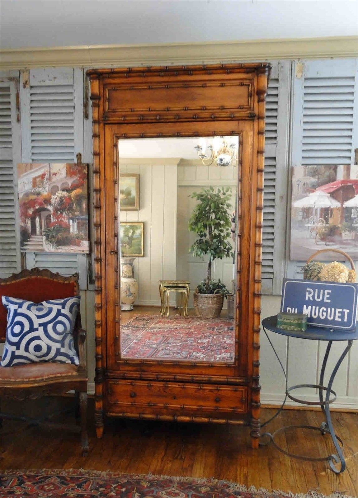 Antique French Bamboo Beveled Mirrored Armoire Wardrobe Classic Grand Scale Key