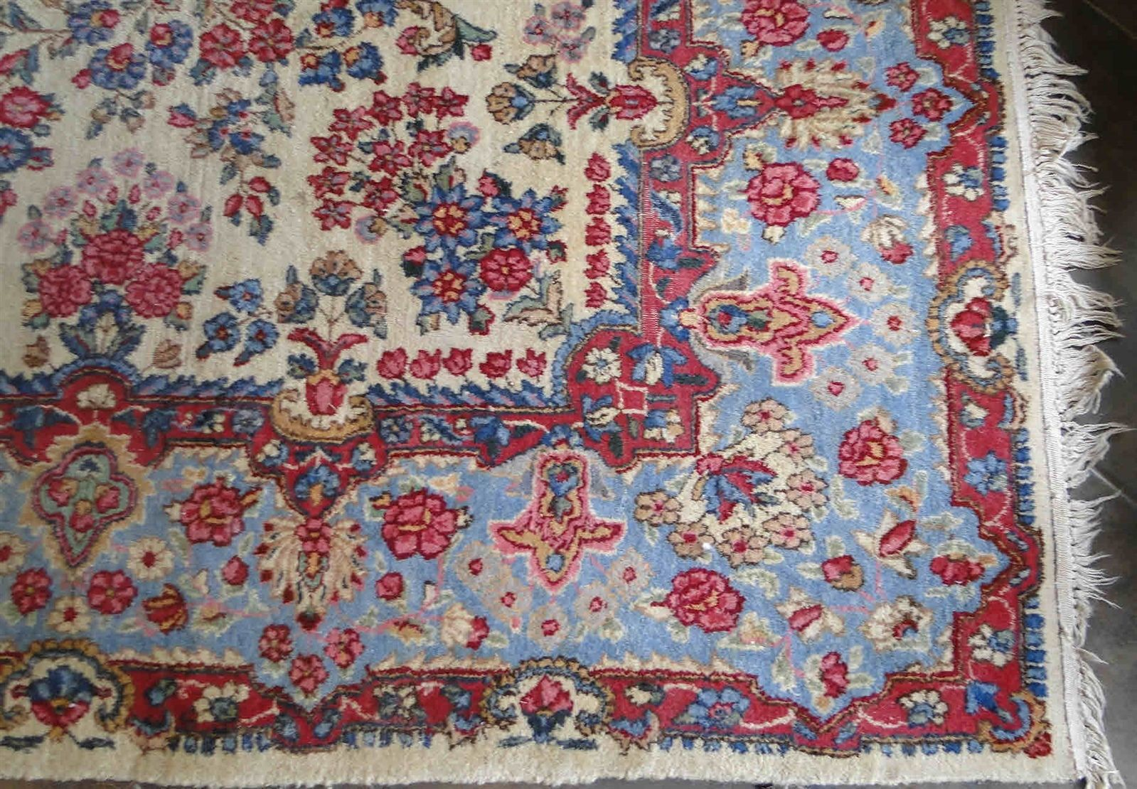 Antique Estate Area Rug from France  French BLUE and milti-color RARE + lovely