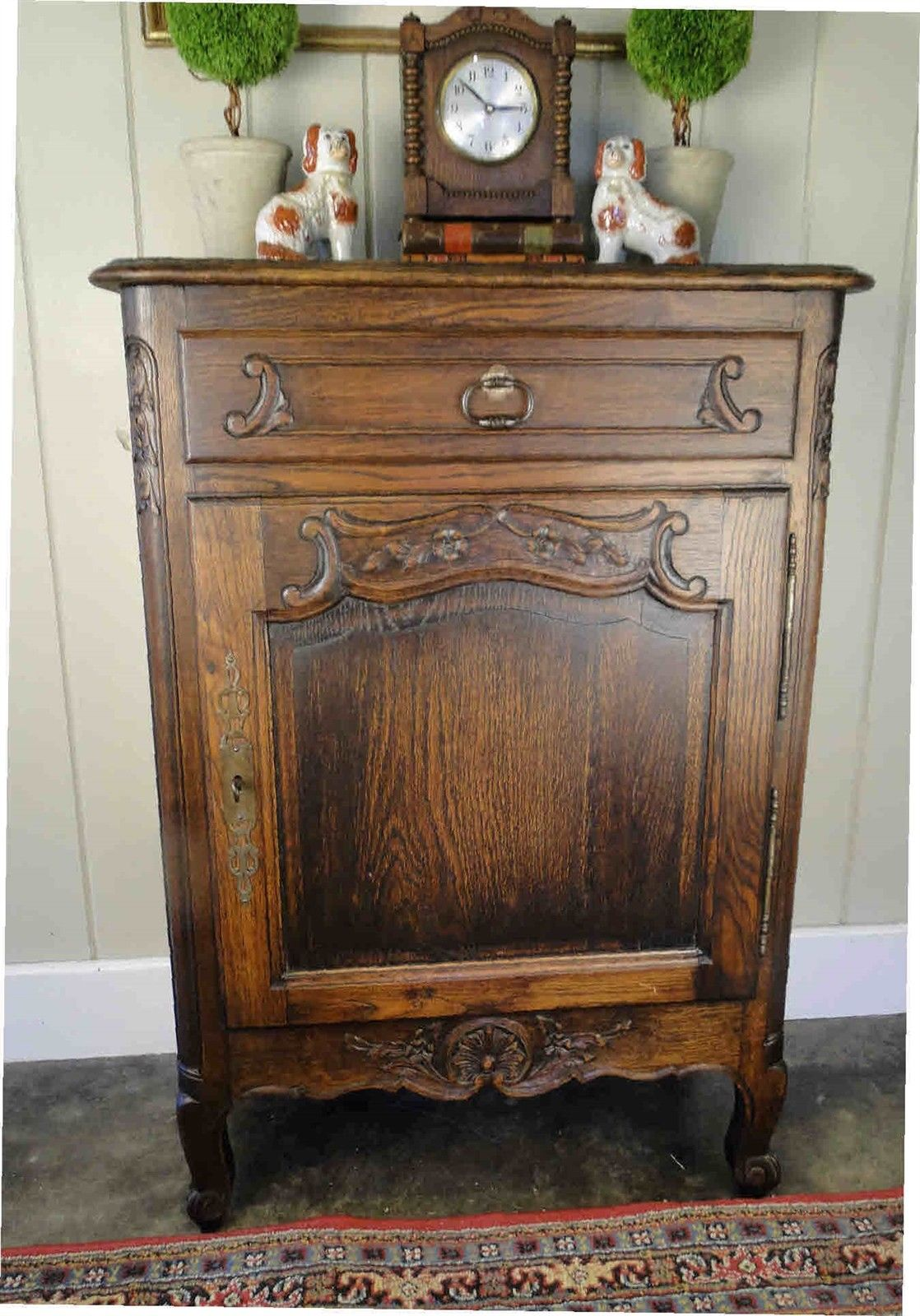 Slim Antique French Carved Tiger Oak End Table, Wine Liquor Cabinet Nightstand