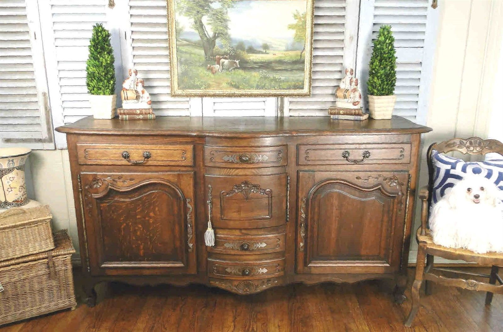 Antique French Country Louis XV Buffet Sideboard Server 2 Door Carved Oak Shell