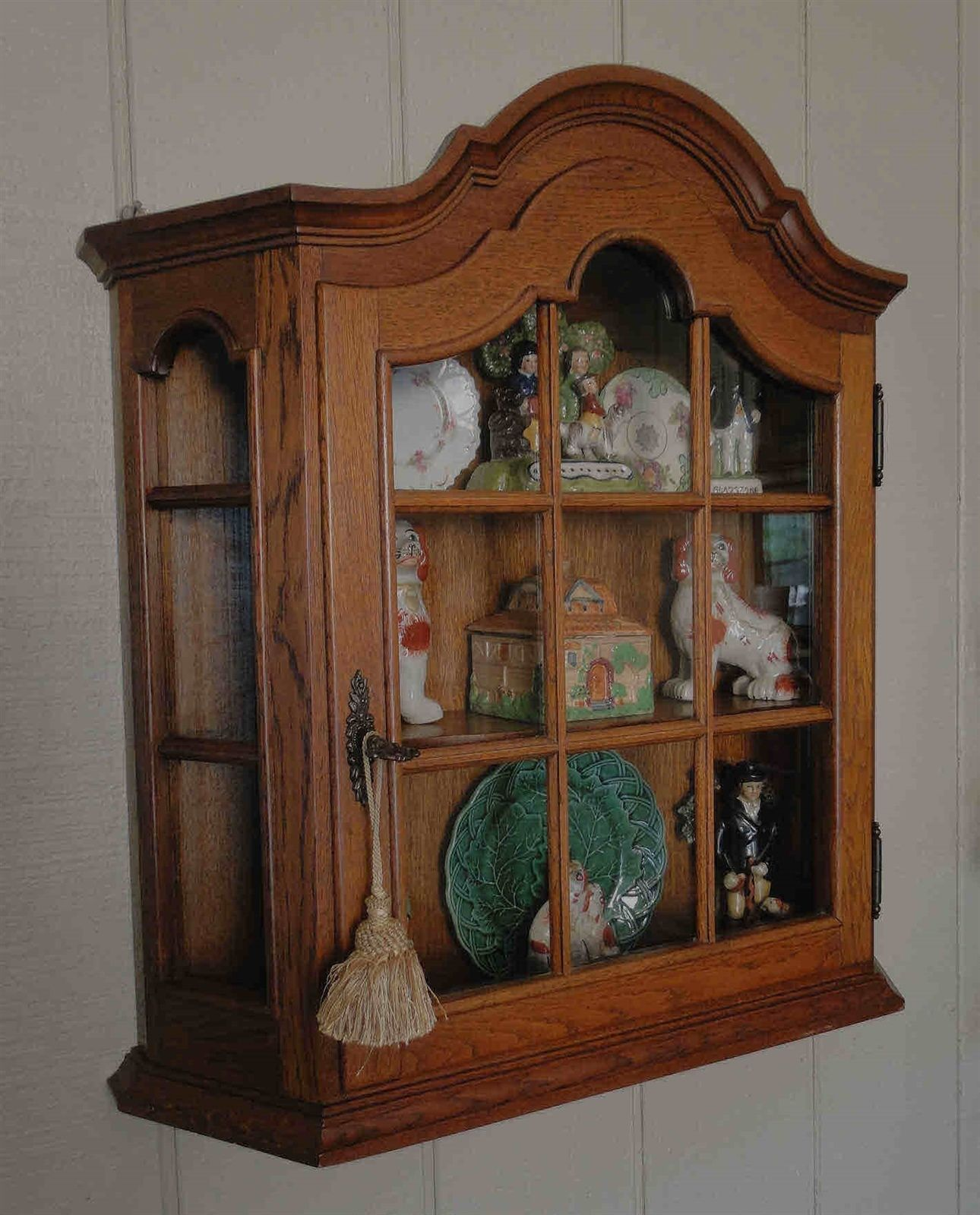 Antique French Oak Dome Top Wall Shelf and Curio Cabinet with Lock and Key and Shelves
