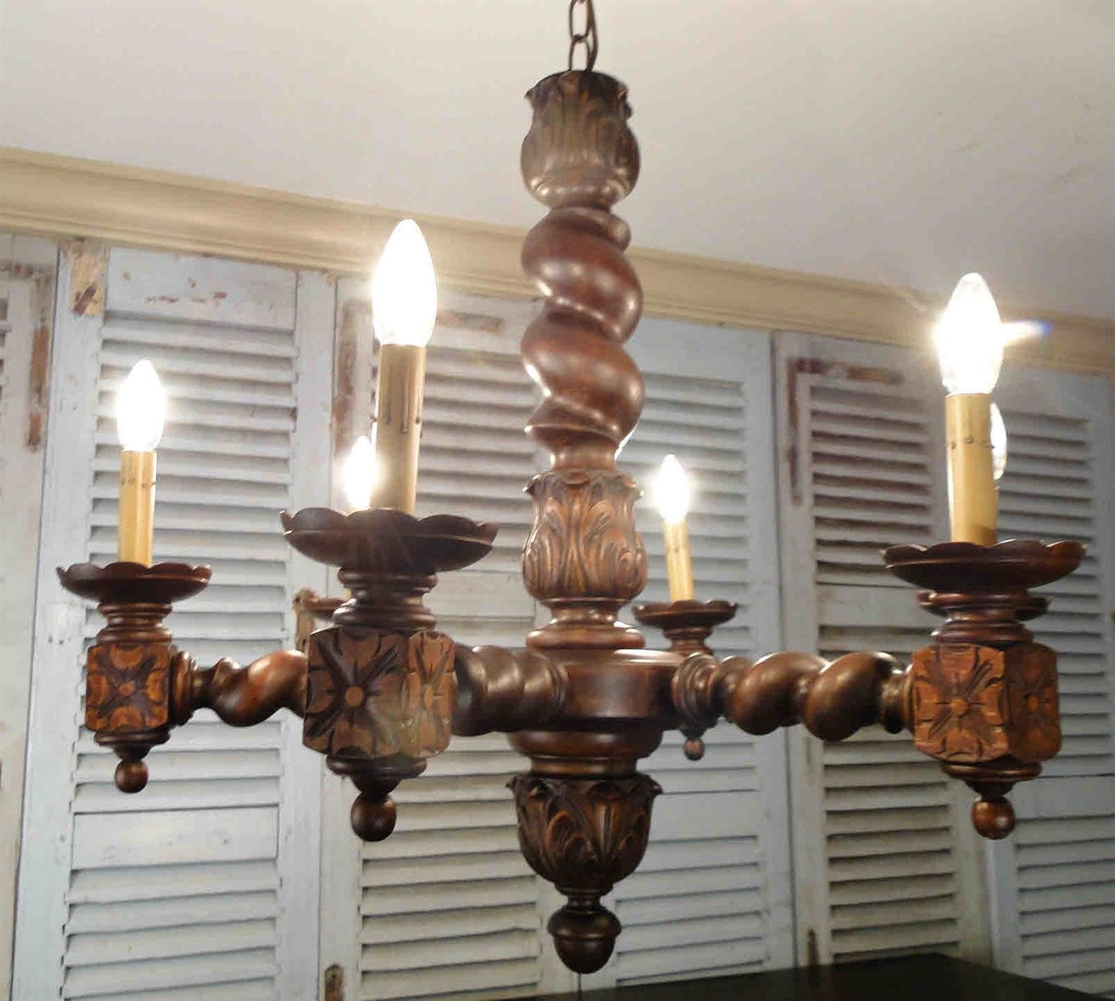 Antique French Barley Twist Large Chandelier Ceiling Light Rewired for USA