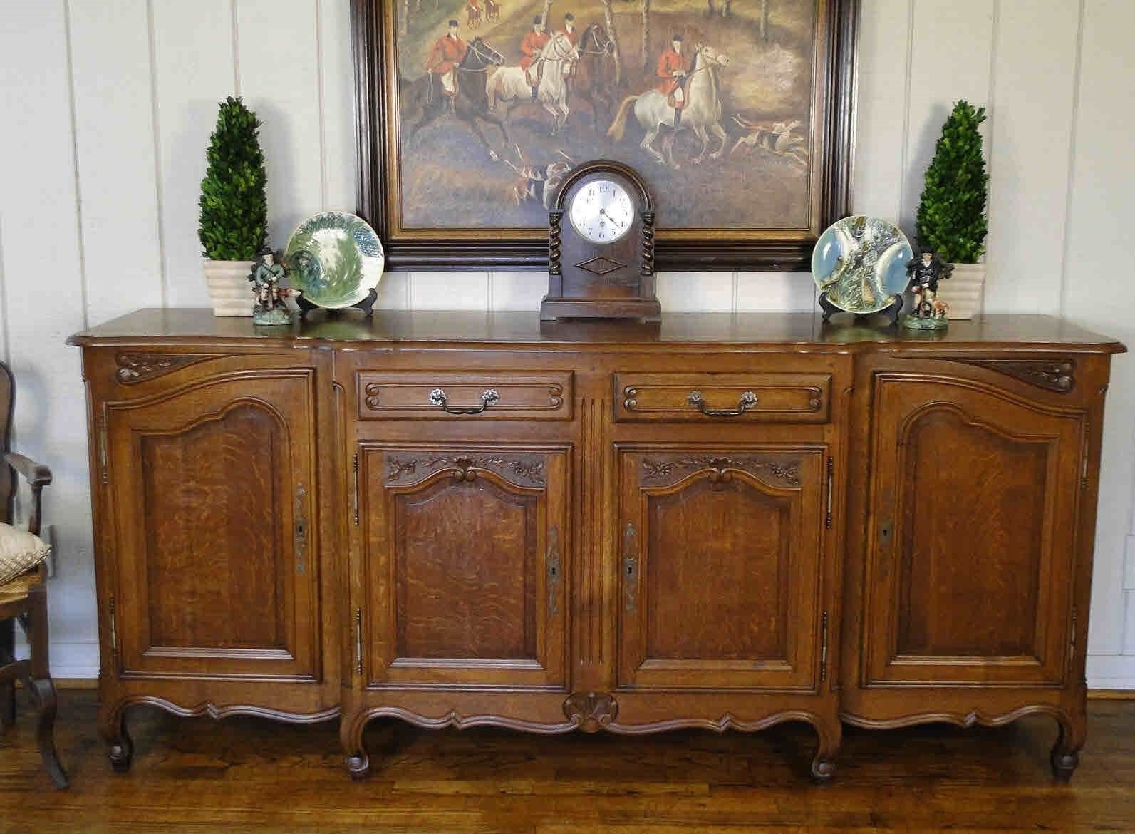 Antique French Buffet Sideboard Server Carved Shell Dark Oak Keys Quality XLong