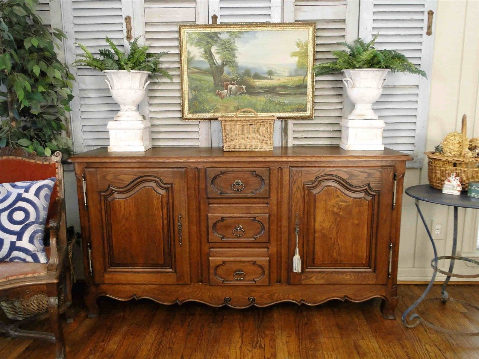 Antique Buffet Sideboard French Country Server 2 Door Drawers Provence Old Oak