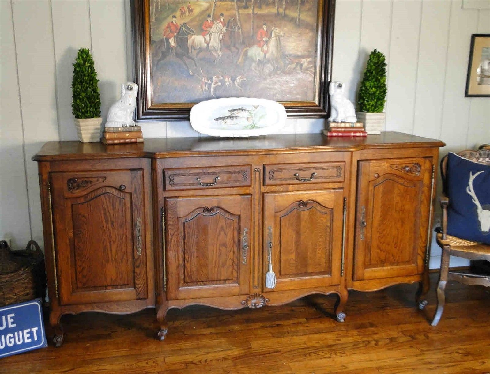 Antique French Country Louis-XV Buffet Sideboard Parquet 4-Door Carved Oak Shell