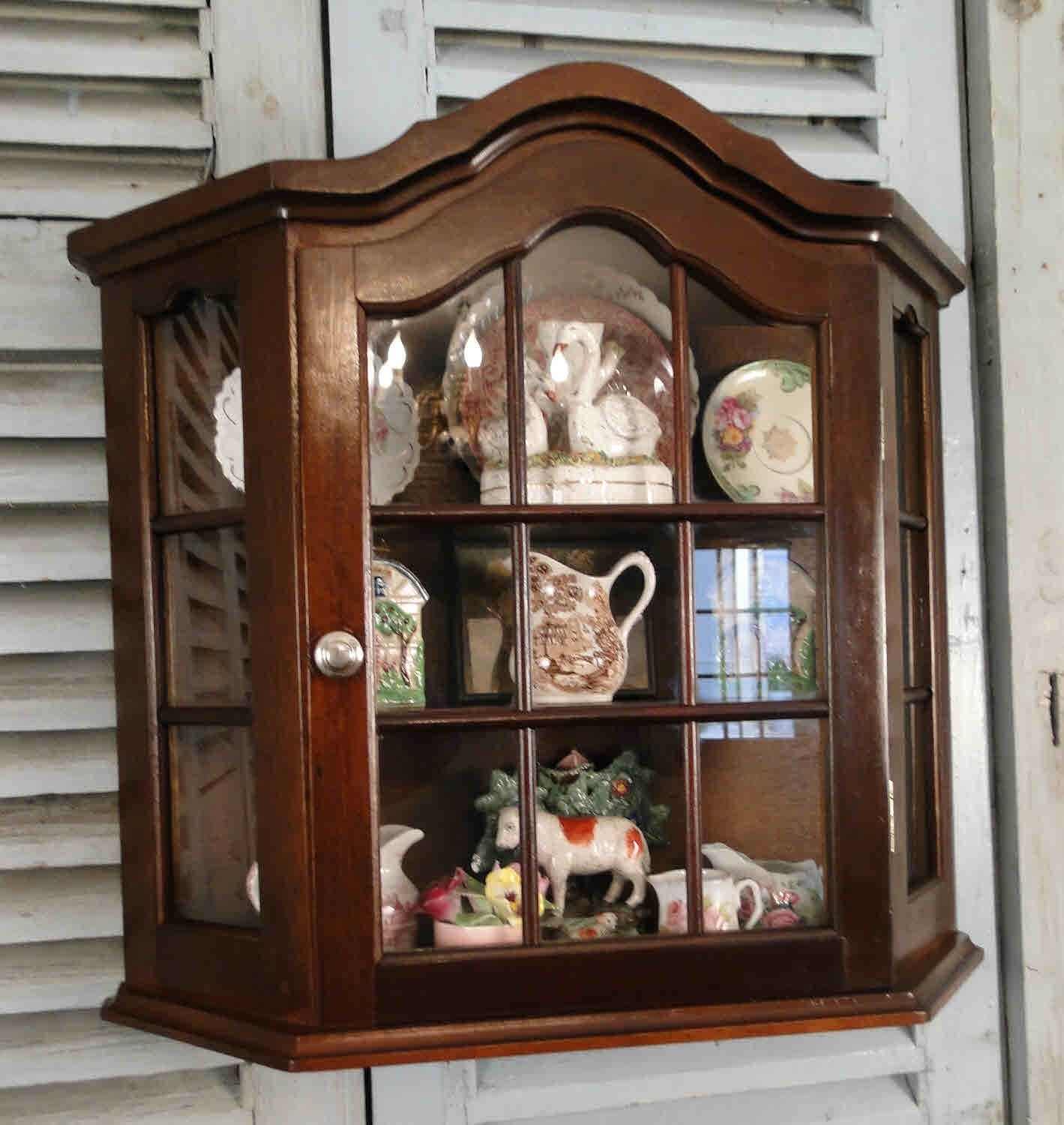 Antique French Country Wall Display Curio Cabinet  Divided Glass - Mahogany