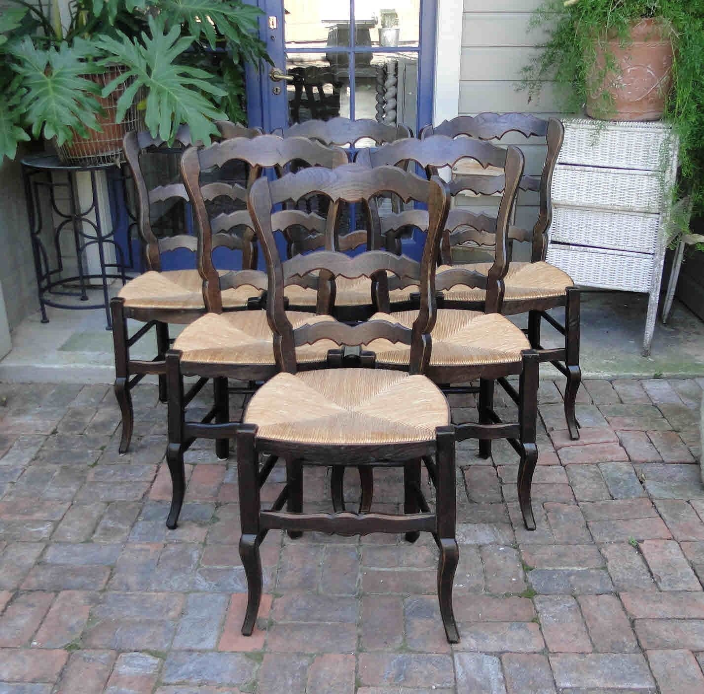 Antique French Dining Chairs Rush Seats Scalloped Ladder Back Stretchers