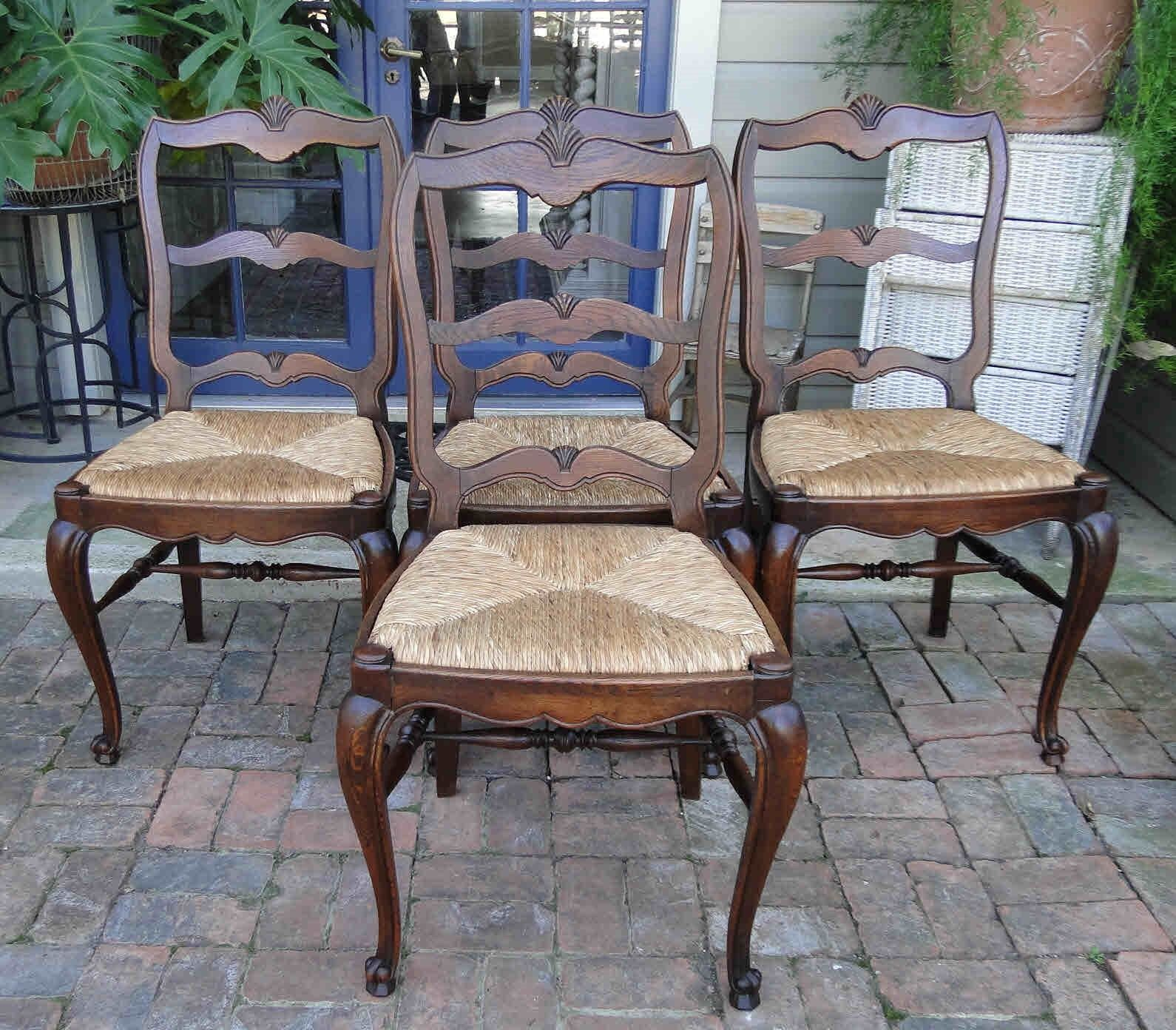 Four Antique French Dining Chairs Rush Seats Shells Tall Ladder Back Stretchers
