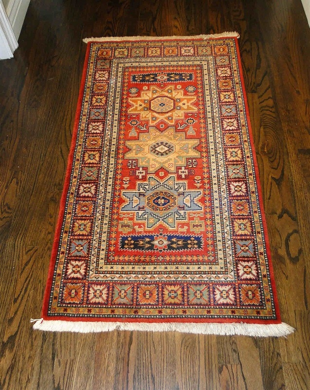"Vintage Rug Runner Carpet Hand Knotted Persian Geometric 1'7"" wide 4'7"" long"