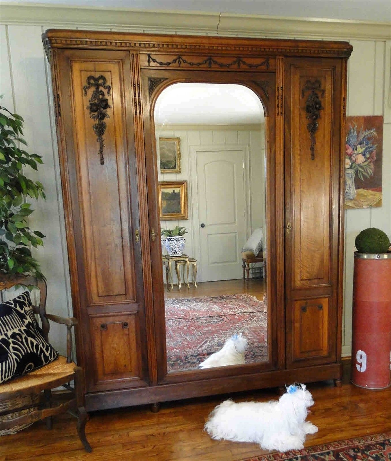 Antique French Armoire Wardrobe Large Beveled Mirror 3 Door Walnut Floral Carved