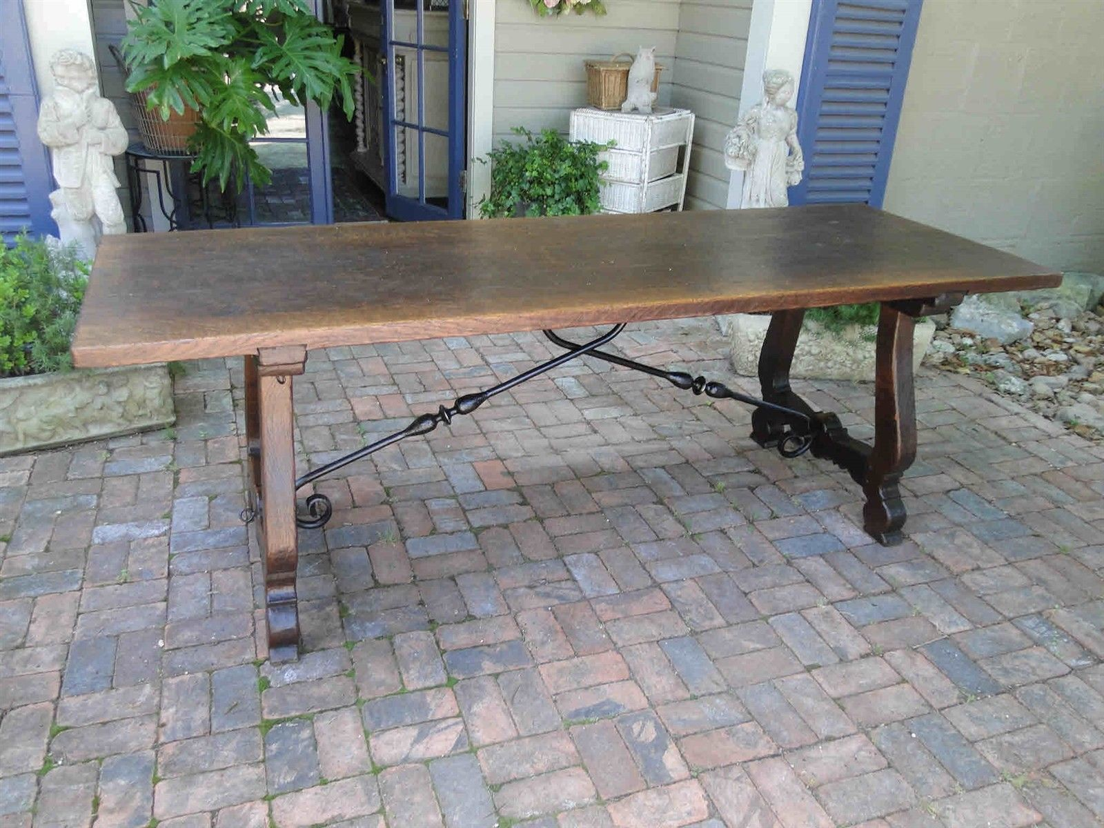 Antique French Dining Farm Table Carved Oak Country Catalan Spanish Iron Old