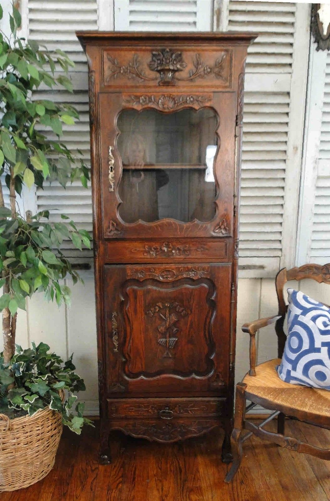 Antique French Cabinet Curio Cupboard Carved Shells Display Cabriole Legs