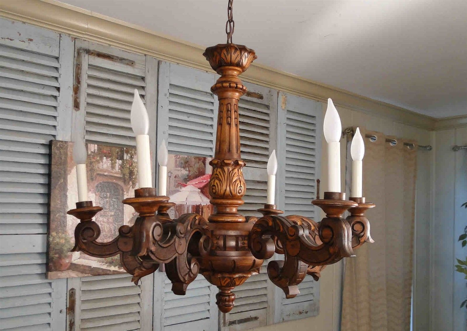 Antique French Wooden Carve Large Chandelier Ceiling Light Rewired for USA